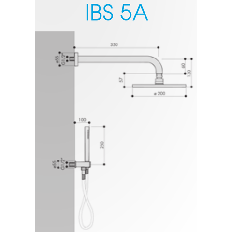 Hotbath IBS 5A Get Together inbouw doucheset Friendo chroom - met ronde 3-standen handdouche - wandarm - hoofddouche 25cm - wandsteun