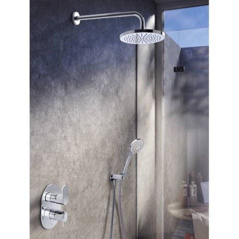 Hotbath IBS 5A Get Together inbouw doucheset Friendo geborsteld nikkel - met ronde 3-standen handdouche - plafondbuis 30cm - hoofddouche 25cm - glijstang