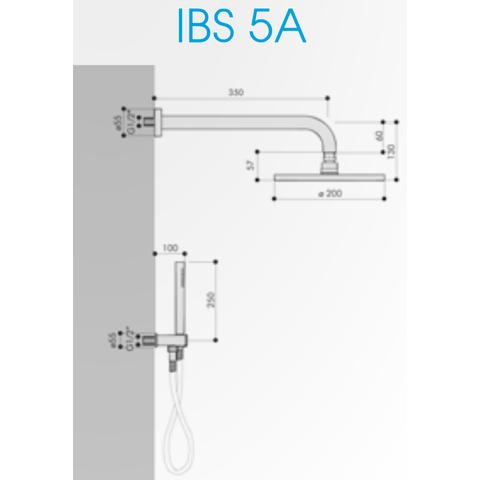 Hotbath IBS 5A Get Together inbouw doucheset Friendo geborsteld nikkel - met ronde 3-standen handdouche - plafondbuis 30cm - hoofddouche 30cm - glijstang