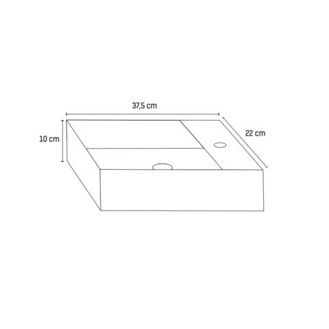 Bewonen Aloni fontein 37,5x22cm - glans wit - kraangat rechts