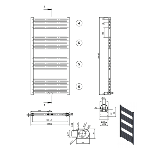 Bewonen Alento handdoekradiator 120x60cm - wit