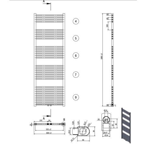 Bewonen Alento handdoekradiator 180x60cm - wit