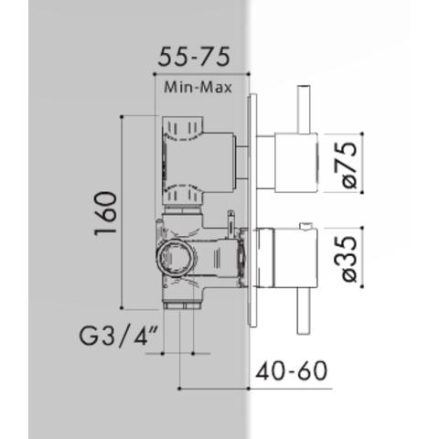 Hotbath IBS 5A Get Together inbouw doucheset Friendo geborsteld nikkel - met staafhanddouche - plafondbuis 30cm - hoofddouche 30cm - wandsteun