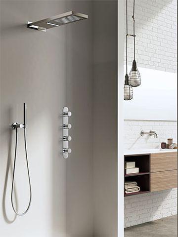 Hotbath IBS 7 Get Together inbouw doucheset met cascade waterval hoofddouche geborsteld nikkel - met ronde 3-standen handdouche - wandsteun met uitlaat