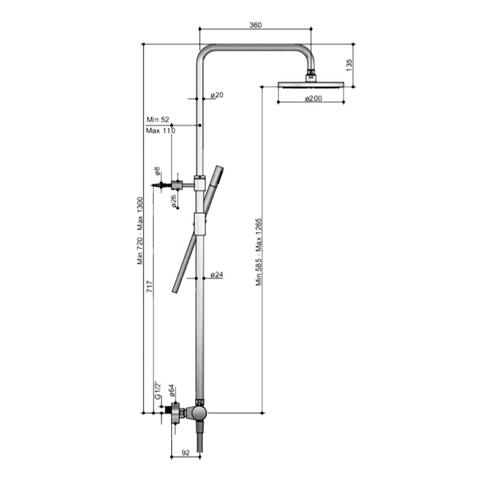 Hotbath SDS 1 Get Together stortdoucheset Buddy/Laddy geborsteld nikkel - met staafhanddouche - 25cm hoofddouche