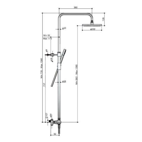 Hotbath SDS 1 Get Together stortdoucheset Buddy/Laddy geborsteld nikkel - met staafhanddouche - 30cm hoofddouche