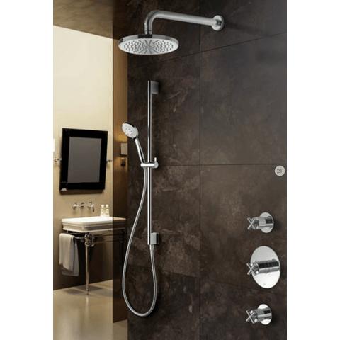Hotbath IBS 3 Get Together inbouw doucheset Chap geborsteld nikkel - met ronde 3-standen handdouche - plafondbuis 30cm - hoofddouche 20cm - wandsteun