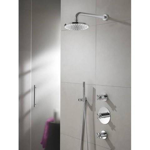 Hotbath IBS 3 Get Together inbouw doucheset Chap geborsteld nikkel - met ronde 3-standen handdouche - plafondbuis 30cm - hoofddouche 25cm - glijstang