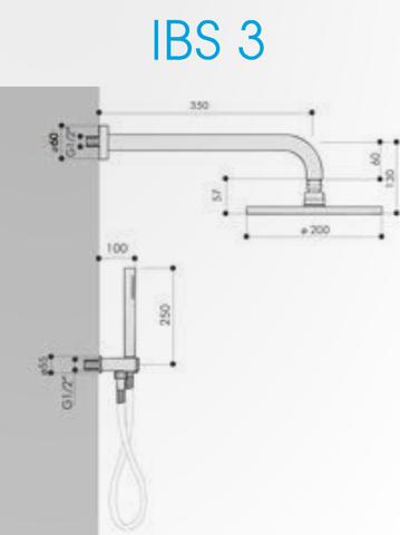 Hotbath IBS 3 Get Together inbouw doucheset Chap geborsteld nikkel - met ronde 3-standen handdouche - wandarm - hoofddouche 30cm - wandsteun