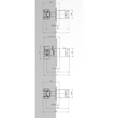 Hotbath IBS 3 Get Together inbouw doucheset Chap geborsteld nikkel - met ronde 3-standen handdouche - plafondbuis 30cm - hoofddouche 20cm - glijstang