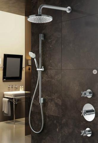 Hotbath IBS 3 Get Together inbouw doucheset Chap geborsteld nikkel - met staafhanddouche - plafondbuis 15cm - hoofddouche 30cm - wandsteun
