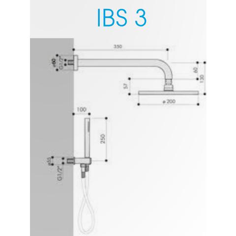 Hotbath IBS 3 Get Together inbouw doucheset Chap geborsteld nikkel - met staafhanddouche - wandarm - hoofddouche 25cm - wandsteun