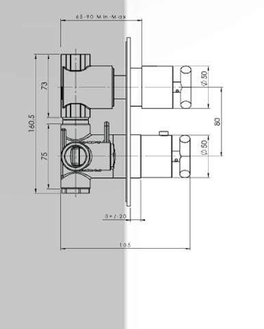 Hotbath IBS 3A Get Together inbouw doucheset Chap chroom - met ronde 3-standen handdouche - plafondbuis 30cm - hoofddouche 20cm - glijstang