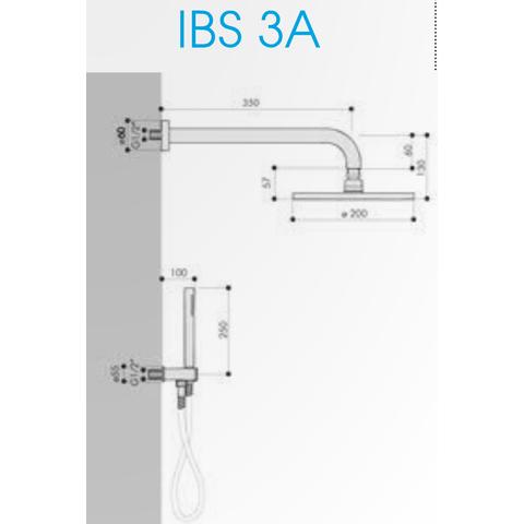 Hotbath IBS 3A Get Together inbouw doucheset Chap geborsteld nikkel - met ronde 3-standen handdouche - plafondbuis 15cm - hoofddouche 25cm - glijstang