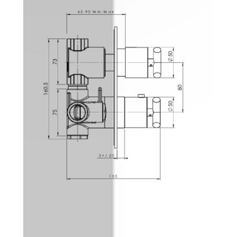 Hotbath IBS 3A Get Together inbouw doucheset Chap geborsteld nikkel - met ronde 3-standen handdouche - plafondbuis 30cm - hoofddouche 30cm - glijstang