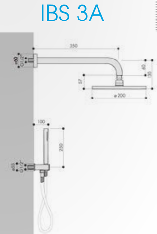 Hotbath IBS 3A Get Together inbouw doucheset Chap geborsteld nikkel - met ronde 3-standen handdouche - wandarm - hoofddouche 20cm - glijstang