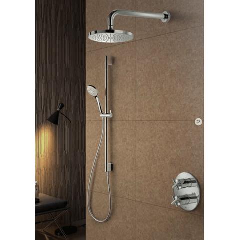 Hotbath IBS 3A Get Together inbouw doucheset Chap geborsteld nikkel - met staafhanddouche - plafondbuis 15cm - hoofddouche 30cm - glijstang