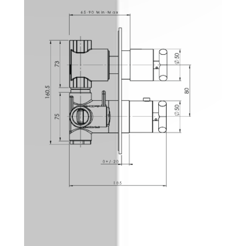 Hotbath IBS 3A Get Together inbouw doucheset Chap geborsteld nikkel - met staafhanddouche - wandarm - hoofddouche 25cm - wandsteun