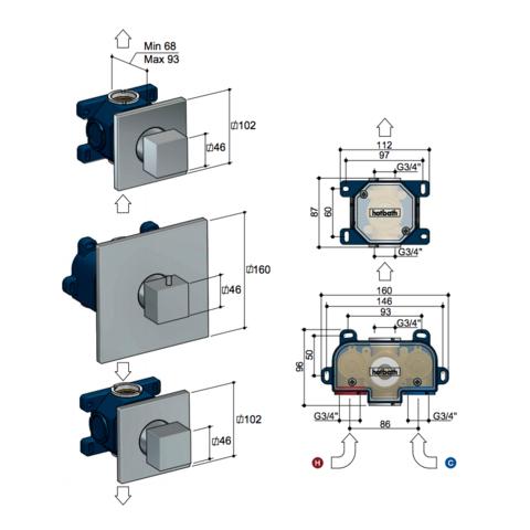 Hotbath Bloke Q007EXT (2019) afbouwdeel voor inbouw thermostaat met 2 stopkranen chroom