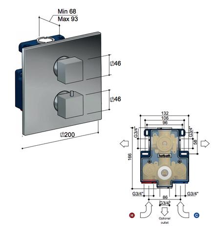 Hotbath Bloke Q009EXT afbouwdeel voor inbouw thermostaat met 2-weg omstel chroom