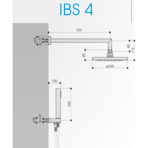 Hotbath IBS 4A Get Together inbouw doucheset Bloke geborsteld nikkel - plafondbuis 30cm - hoofddouche 30cm