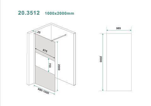 Wiesbaden Slim inloopdouche 100cm rookglas met gedeeltelijk matglas chroom beslag