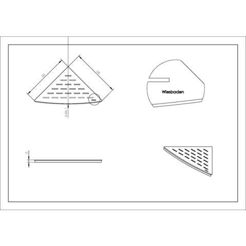 Wiesbaden InWall hoekplanchet 29x29 mat zwart
