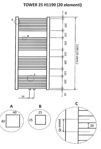 Wiesbaden Tower handdoekradiator 119 x 60 cm (H x L) mat zwart