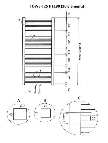 Wiesbaden Tower handdoekradiator 119 x 60 cm (H x L) wit