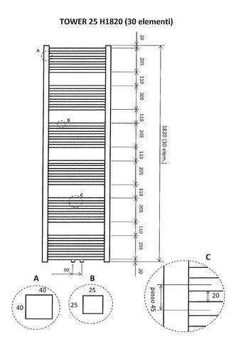 Wiesbaden Tower handdoekradiator 182 x 60 cm (H x L) wit