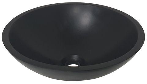 Wiesbaden Valerie opzetwastafel solid surface 43cm mat zwart