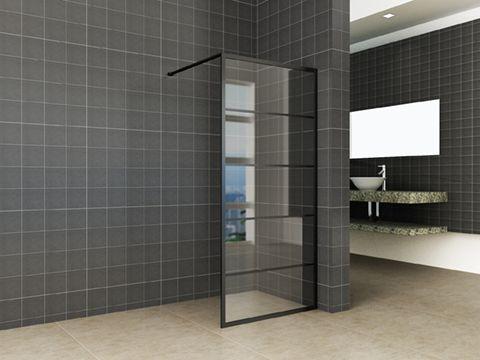 Wiesbaden Horizon inloopdouche 100cm mat zwart raster