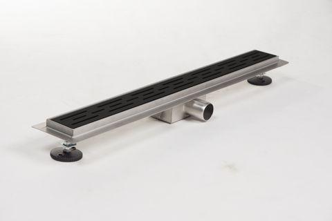 Brauer douchegoot 80cm - met vloerflens - sleufrooster zwart