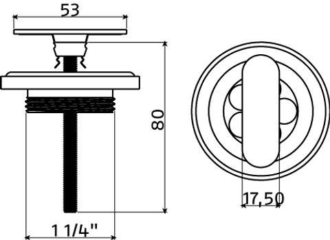 Clou Flush afvoerplug t.b.v. flush fontein niet-afsluitbare plug sleuf mat zwart