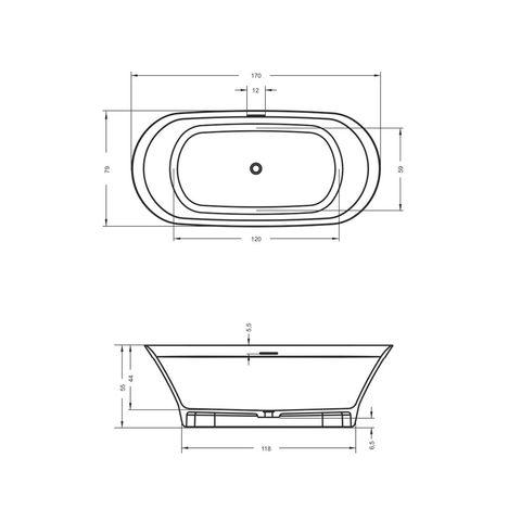 Riho Barca Solid surface vrijstaand bad 170x79cm