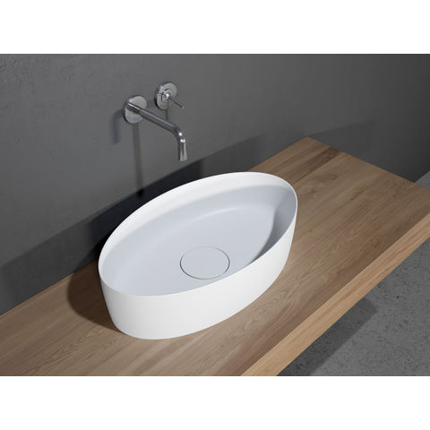 Riho Thin Oval kom 58x35cm solid surface mat wit