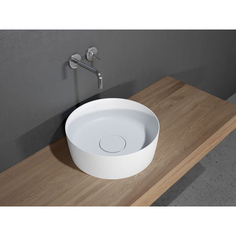 Riho Thin Round kom 42cm solid surface mat wit