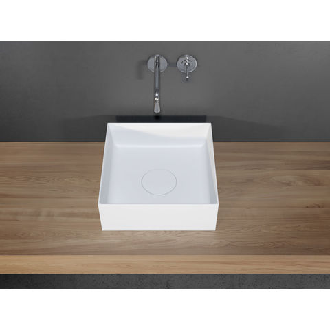 Riho Thin Square kom 38x38cm solid surface mat wit