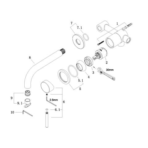 Wiesbaden Caral inbouw wastafelkraan 19,3cm geborsteld koper PVD