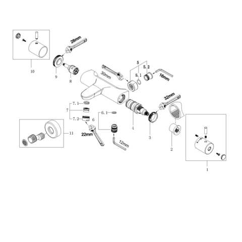 Wiesbaden Caral badthermostaat geborsteld koper PVD