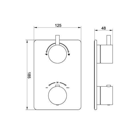 Wiesbaden Caral inbouw doucheset rond - geborsteld koper PVD - met plafondbuis 20cm - 20cm hoofddouche