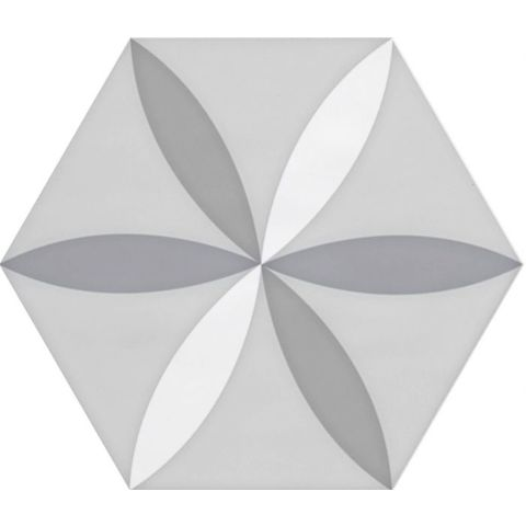 Cifre Vodevil hexagon 17,5 x 17,5 cm White decor glanzend (37 stuks)