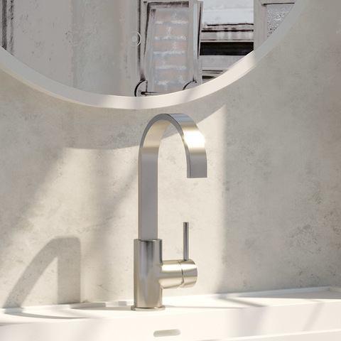 Brauer Brushed Edition wastafelkraan hoog cascade - hendel 1 - geborsteld nikkel PVD