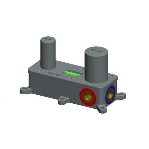 Brauer Brushed Edition inbouw wastafelkraan I-model met achterplaat - hendel 2 - geborsteld nikkel PVD