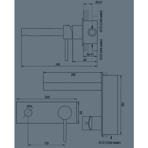 Brauer Brushed Edition inbouw wastafelkraan I-model met achterplaat - hendel 1 - geborsteld nikkel PVD