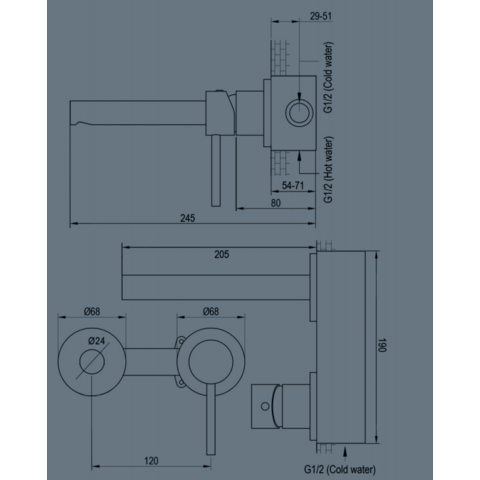 Brauer Brushed Edition inbouw wastafelkraan I-model - hendel 1 - geborsteld nikkel PVD