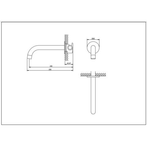 Brauer Brushed Edition universele uitloop 21,3cm geborsteld nikkel PVD