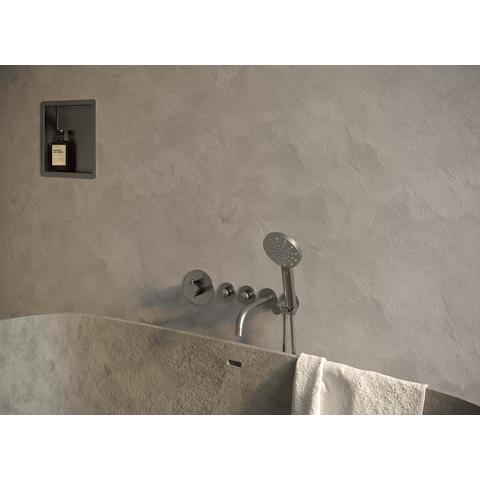 Brauer Brushed Edition inbouw badthermostaat met uitloop - geborsteld nikkel PVD - ronde handdouche