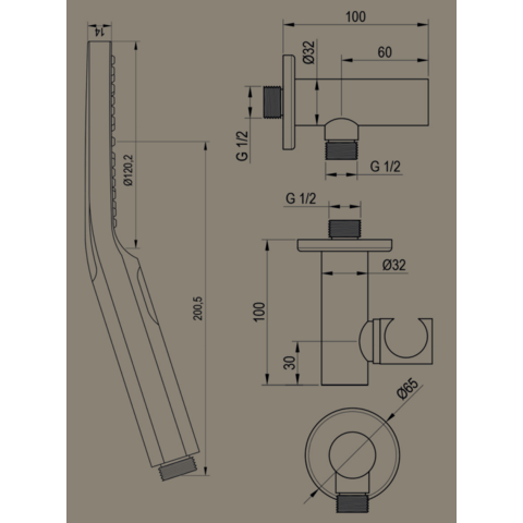Brauer Black Edition inbouw badthermostaat met badafvoer/vulcombinatie - ronde handdouche - mat zwart
