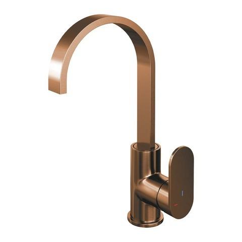 Brauer Copper Edition wastafelkraan hoog cascade - hendel 3 - geborsteld koper PVD